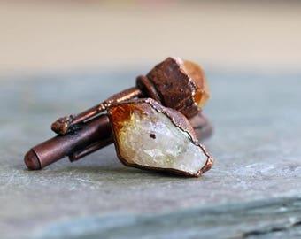 Stone Cufflinks Groomsmen Gift Graduation Raw Citrine Copper Cufflinks Electroformed Cufflinks Citrine Cufflinks Best Man Wedding Gift