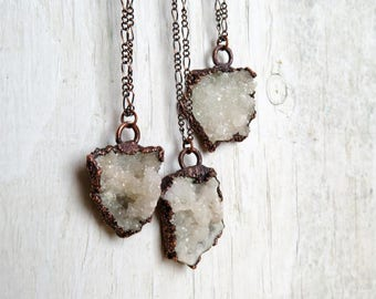 Druzy Necklace Electroformed Copper Pendant White Druzy Crystal Cluster Necklace Sparkly Stone Pendant