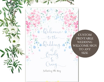 The Blossom Collection Printable Wedding Welcome Sign Template (To Any Size)