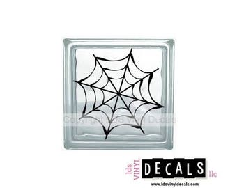 Spider Web - Halloween Vinyl Lettering for Glass Blocks - Craft Decals