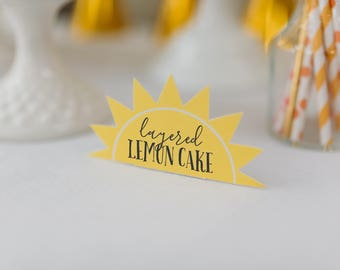Printable Food Labels - You Are My Sunshine - menu cards - food tents