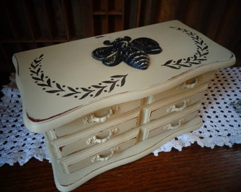 Painted Destressed Vintage Jewelry box OOAK