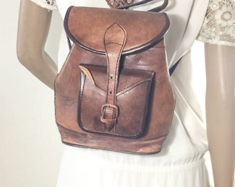 Vintage Brown Leather Backpack,small backpack