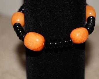 Orange and Black Beaded Bracelet