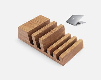 Multiple Charging Station Organizer in Natural Oak Wood for 5 Devices