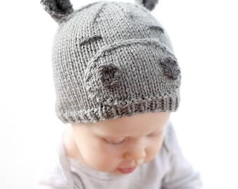 Hippo Hat Baby KNITTING PATTERN - baby hippopotamus, knit hippo hat pattern for babies, infants - sizes 0-3 months, 6 months, 12 months, 2T+