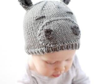 Baby Hippo Hat KNITTING PATTERN / Hippopotamus Hat / Hippopotamus Gift / Hippopotamus Kids / Hippo Nursery Decor / Hippo Beanie /
