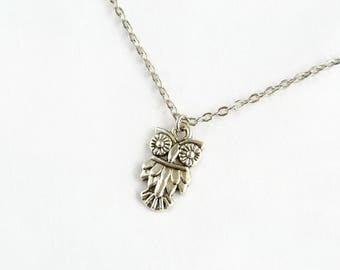 Owl Necklace - Owl Jewelry - Owl Gift - Woodland Jewelry - Owl Lover Gift - Miniature Owl - Owl Charm - Owl Pendant - Girlfriend Gift