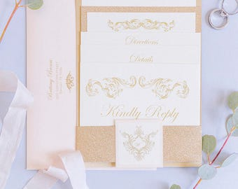 5x7 Traditional Formal Vintage Gold Glitter and Pink Blush Rose Wedding Invitation with Enclosure Band & Return Address Printing