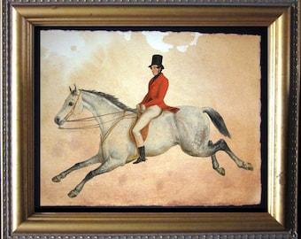 Equestrian Horse Rider Fox Hunter Vintage Art Print on Tea Stained Paper - Vintage Art Print