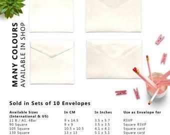 10 x Ivory Envelopes, 4x6 Envelopes, A2 Envelopes, A7 Envelopes, C5 Envelope, C6 Envelopes, Set of 10 Envelopes