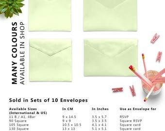 10 x Mint Green Envelopes, 4x6 Envelopes, 5x7 Envelopes, A2 Envelopes, A7 Envelopes, C5 Envelope, C6 Envelopes, Set of 10 Envelopes
