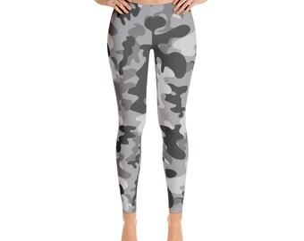 Camouflage Leggings, Camo Leggings, Gray Camo Yoga Pants, Camo Print Leggings, Modern Leggings, Yoga Leggings, Yoga Pants, Workout Pants