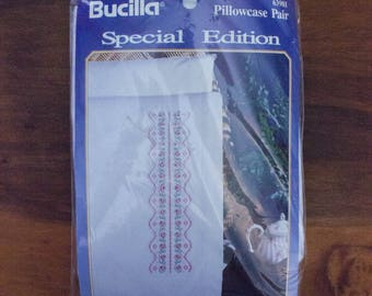 """1993 Bucilla Special Edition Row of Roses Stamped Pillowcase Pair for Embroidery- 20"""" x 31"""""""