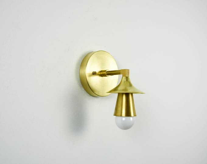 Raw Brass Gold Light Wall Bathroom Sconce Cone Sphere Metal Covers Vanity Modern Mid Century Industrial