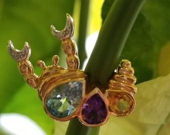 14 K yellow gold multi color stone scorpio pin or pendant