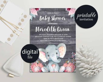 Elephant baby shower invitation Girl safari baby shower invitation printable Girl Baby shower Invitation Jungle Baby Shower Invitation