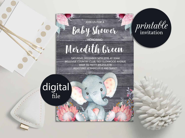Baby Shower For One ~ Elephant baby shower invitation girl safari