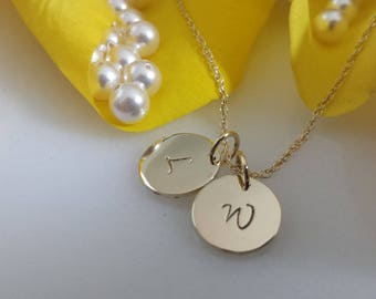 Solid 14kt yellow gold initial necklace , 14k rose gold necklace , 585 white A B C D E F G H I J K L M N O P Q R S T U V W X Y Z  1-5 charms