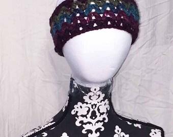 Crochet Maroon Green and Blue Headband and Ear Warmer