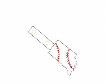Indiana Baseball/Softball Outline Fob - In The Hoop - Snap/Rivet Key Fob - DIGITAL Embroidery Design