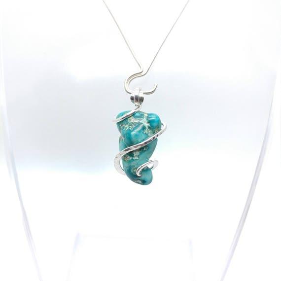 Raw Turquoise Pendant | Turquoise Necklace | Silver Pendant | SW USA Turquoise | December Birthstone | Gift for Her | Raw Stone