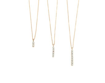 14K Cubic Minimalistic Pendant Chain Necklace. 14K Rose Solid Gold. WhiteCubic Zirconia. Chain Necklace.