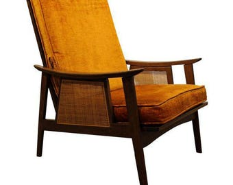 Mid-Century Lounge Chair Danish Modern Accent Chair Walnut Caned Open Arm Chair