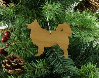 Icelandic Sheepdog Ornament in Wood or Mirror Acrylic Customizable with Name - Long Coat