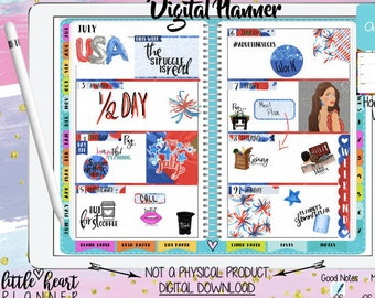 Digital Planner for Goodnotes   Aqua Vertical week   iPhone iPad Tablet Planning with working tabs