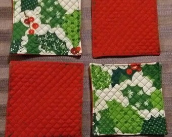 Christmas Quilted Coasters, Set of 4