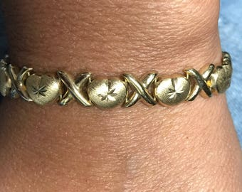 "Vintage 14K Yellow Gold 8"" XOXO 8mm Bracelet 12 Grams!"