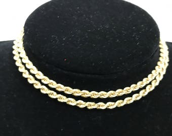 "Heavy 14K Yellow Gold 4mm Rope Chain 20"" NECKLACE Beauty!!"