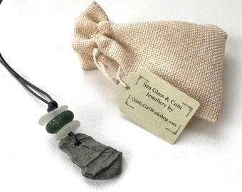 Beach Pebble pendant, sea glass necklace, green beach glass, natural jewelry, unusual raw stone, grey rock, grey leather cord, eco jewelry