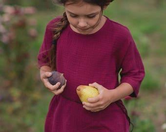 Girls 3/4 Sleeve Dress Cotton Muslin