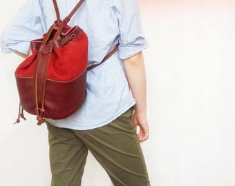 Leather handbag, leather bucket bag, leather backpack, genuine bordeaux leather, soft suede leather, cotton lining, pocket, leather string