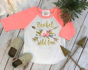 First Birthday, Wild One, Girl Birthday Shirt, Personalized Birthday, 1st Birthday, Birthday RAGLAN, Boho Birthday, Girl Birthday Shirt, ONE