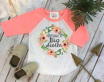 Big Sister Shirt, Big Sister Raglan, Sisters Shirts, Promoted to Big Sister, Sister Shirt, Sister Reveal, Big Sister Announcement, Big Sis