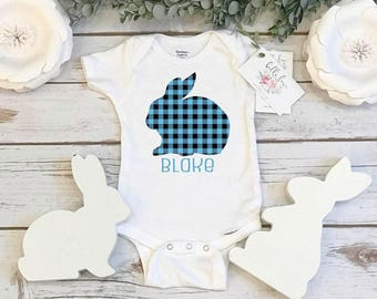 Easter Onesie®, Baby's First Easter, PLAID BUNNY onesie, Personalized Easter, Baby Shower Gift, Monogram Easter Shirt, Baby's 1st Easter,BOY