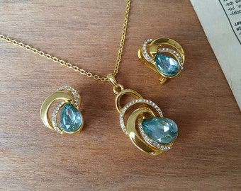 Classic Trendy Gold Plated Water Drop Blue Crystal Chain Necklace Earrings, Jewelry Set
