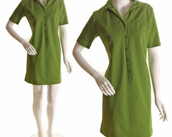 1960s Green Polyester Short Sleeve Mini Dress-M