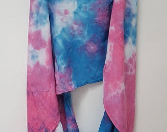 Hand Dyed Rayon Infinity Scarf in Blue & Pink