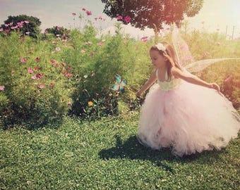 Flower girl dress - Tulle flower girl dress -white Dress - Tulle dress-Infant/Toddler - Pageant dress - Princess dress - pink flower dress