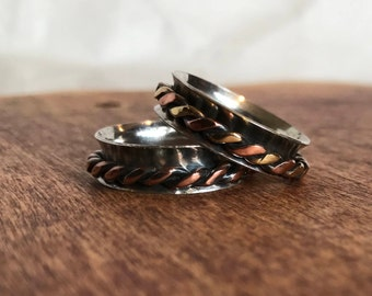 Spinning Ring in Silver and Copper. Narrow Spinner Ring. Turning ring. Sterling Silver Fidget Ring - Sterling Silver Worry Ring