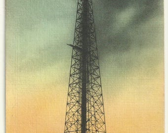 1940s Linen Postcard- View of Gushing Oil Well in Texas, Texas, TX. ~ Free Shipping