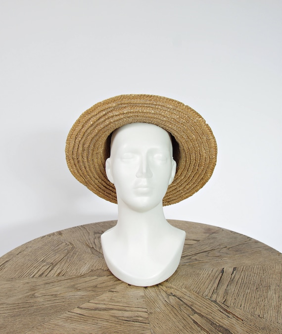 80s Polish summer straw hat / size 54