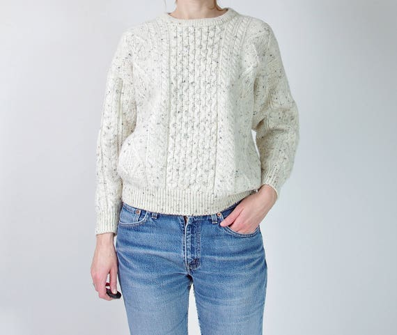 80s Irish Homecraft off white melange wool cable knit sweater made in Ireland / size S-M