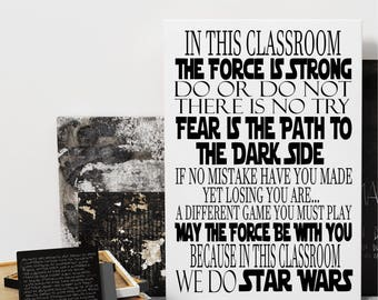 STAR WARS Disney CLASSROOM Rules Sign Art Print Canvas