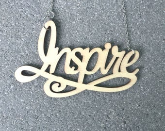 "Laser Cut Wood ""Inspire"" Necklace \\ Wood Jewelry \\ Silver Chain"