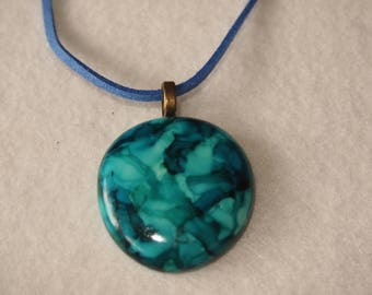 20% SALE Dark Blue and Turquoise Circle Pendant & Necklace - Alcohol Ink Colors